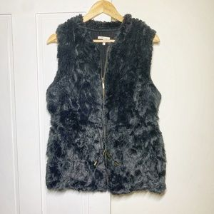 Maurices Black Faux Fur Zippered Cinching Vest